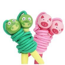 Мульти-Цвет с принтом в виде персонажей из мультфильма, детские наборы деревянный скакалка для занятия спортом дома ручка в виде животного учеников детский сад игры Скакалка веревка, Скакалка для детей