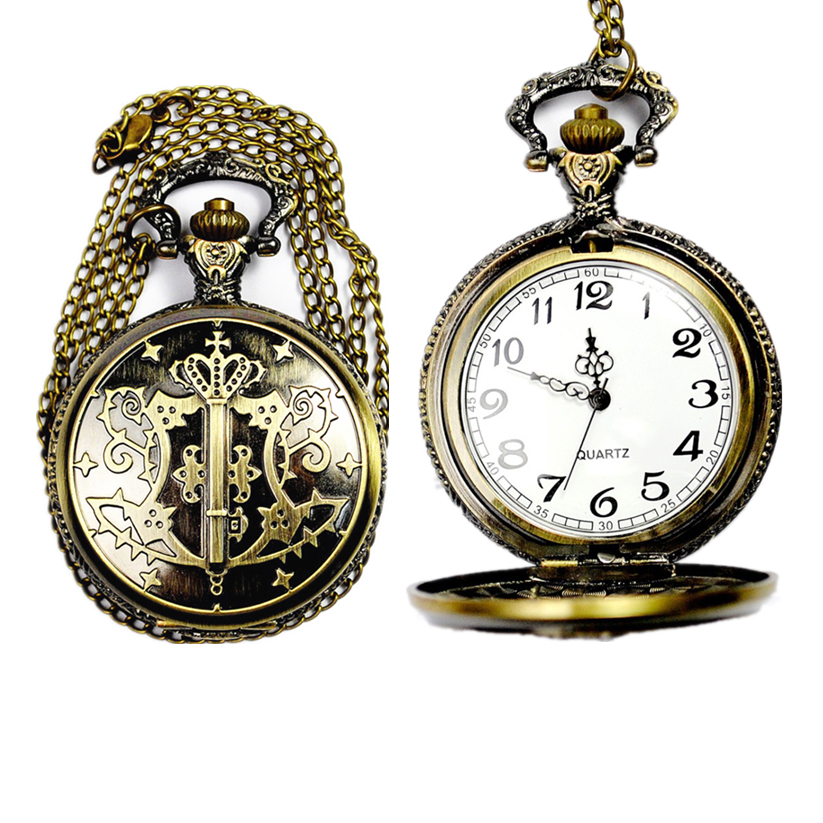 Womens Mens Quartz Pocket Watch 1 PC Victorian Style Vintage Watch Necklace Magic Wand Watch Pendant On Chain Wholesale 30M15(China (Mainland))