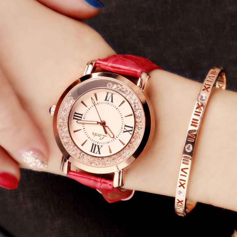 Top SaleWomen's Watch Luxury Roman Numeral Fashion Dress Watches Woman 2018 Leather Quartz Rhinestone Ladies Wristwatch Montres Femme