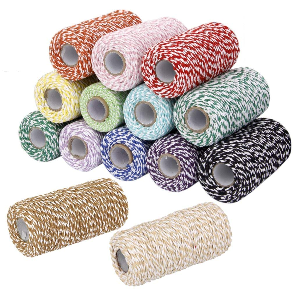 100M Cotton Kitchen Twine Gift Wrap Cotton Rope Ribbon Cotton Bakers Twine Perfect For Baking, Butchers, Crafts And Christmas Gi