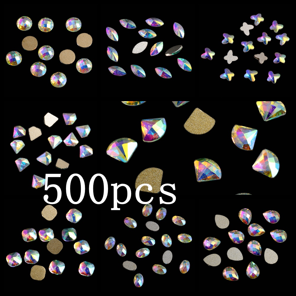 Craft Art Stone 500pcs Crystal AB Glass Rhinestone For Nail Art Decorations Flatback Nail Stickers DIY Craft Art Charm Stones 1 5mm 2mm 3mm gold silver hot fix flatback half round nail art rivet punk rock style for 3d nail art decoration