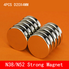 4pcs/lot 20 x 4mm Super Strong Rare Earth Disc 20mm Fridge Permanet Magnet Small Round N38 N52 Neodymium 20*4MM