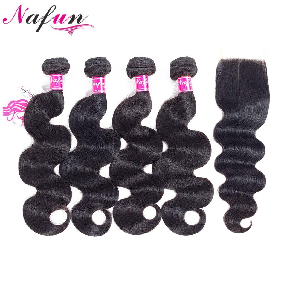NAFUN Brazilian Human Hair Body Wave 4 Bundles With 4*4 Lace Closure Natural Color Human Hair Bundles With Closure 5Pcs/Pack