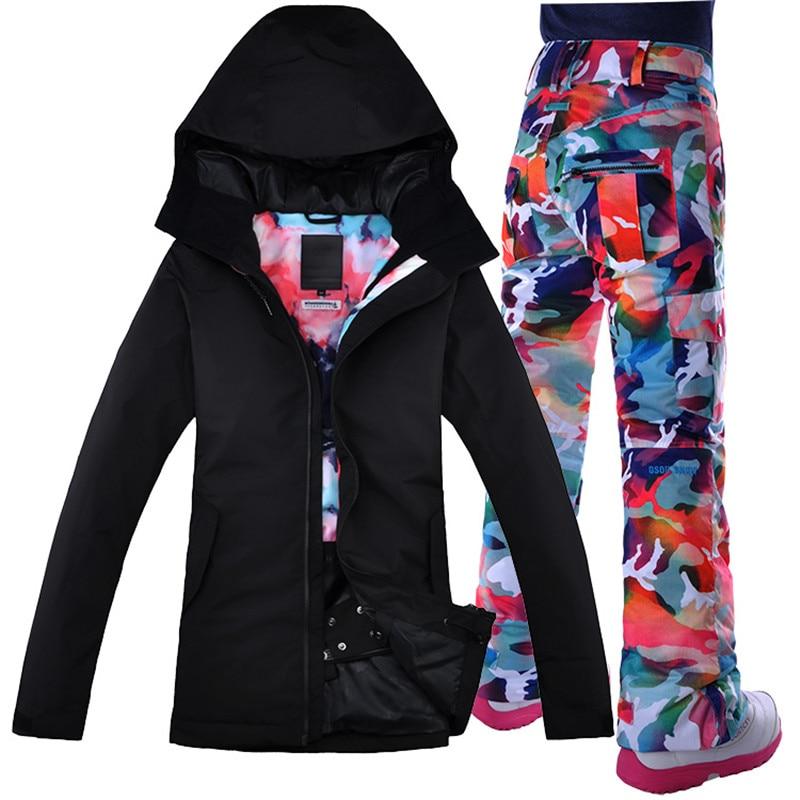 Водонепроницаемый Gsou снег лыжный костюм, Черная куртка, двухслойная сноуборд Для женщин куртка для снежной погоды + штаны теплая одежда Бес