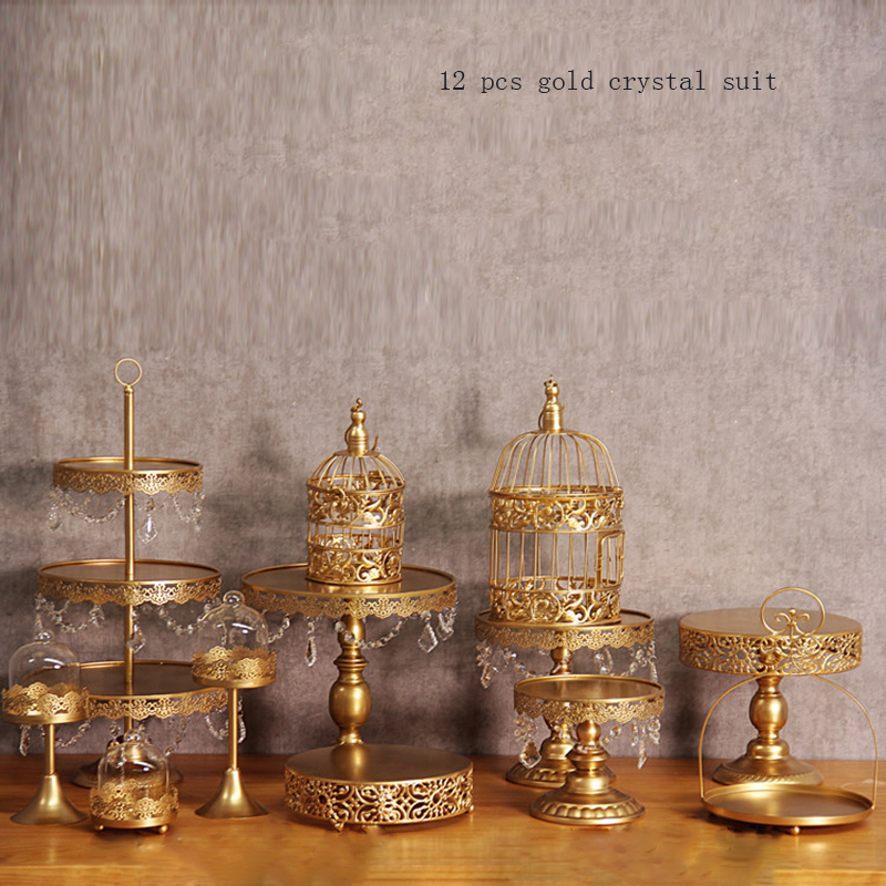gold wedding cake stand set 12 pieces cupcake stand barware decorating cooking cake tools bakeware set party dinnerware in Stands from Home Garden