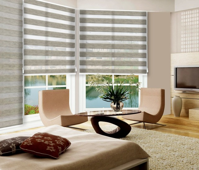 Zebra Stripe Double Layer Kitchen Curtains Shade Window Roller