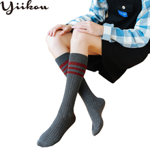 Female winter high long stockings female knee-length girl college wind three bar striped calf but knee