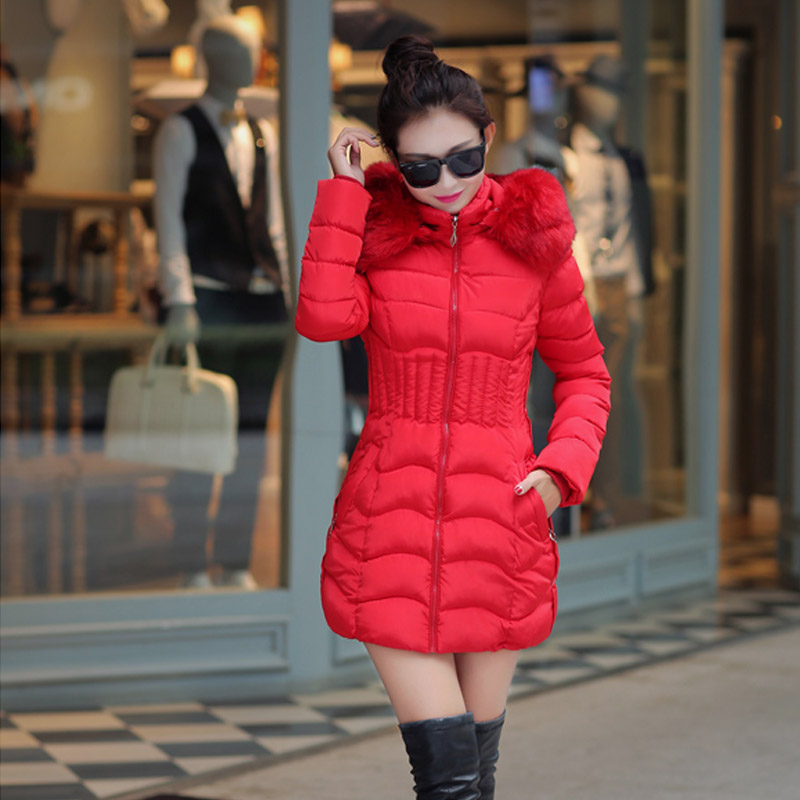 ФОТО NEW winter Women Fur Hood Cotton Padded Coat In the long section cotton new female winter down jacket wool coat collar outerwear