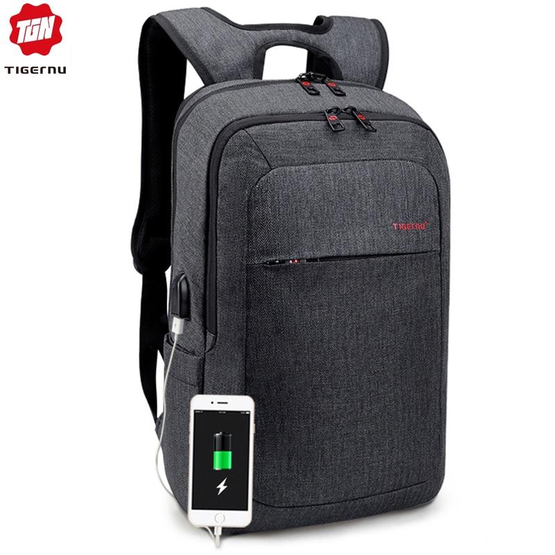 a8c3d15c1916 Tigernu Men Fashion 15.6 14 inch USB Recharging Backpacks Anti theft Male  Mochila Rucksack Laptop Backpack Schoolbag for Teens
