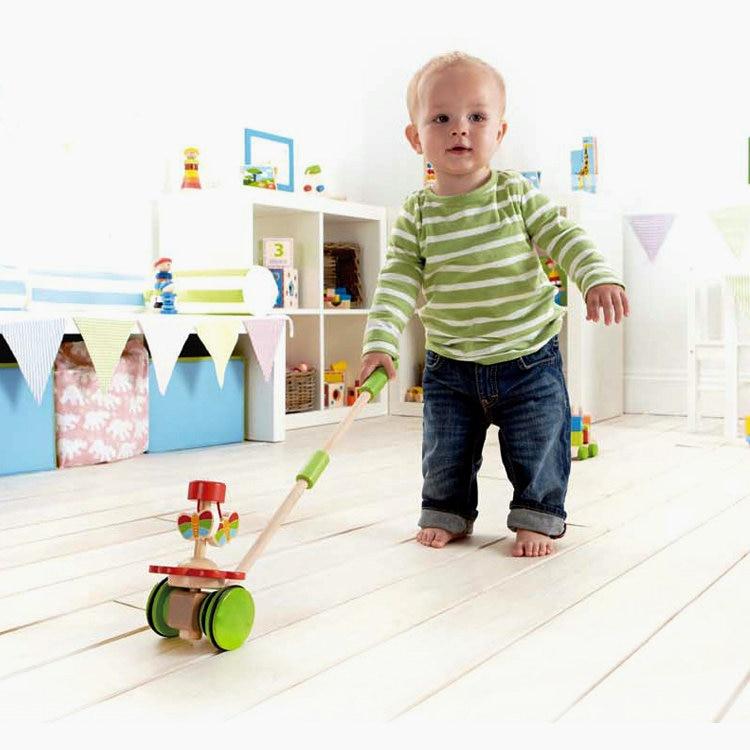 Free Shipping Children Wood Animal Push Pull Car Drag Toys