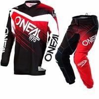 Elementem 2018 Racewear Oneal Motocross Jersey i Spodnie Czarny Czerwony Zestaw ATV Dirt Bike jersey + spodnie garnitur