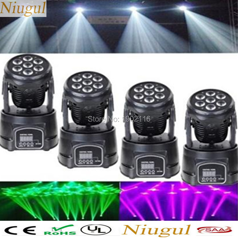 Niugul 4pcs/lot dj lighting 7X12W LED Mini Moving Head Light RGBW 4in1 LED DMX Wash Light for KTV/wedding party light chandelier wedding lighting entertainment system modern outdoor professional commercial lighting led dj light mini party for mixer audio
