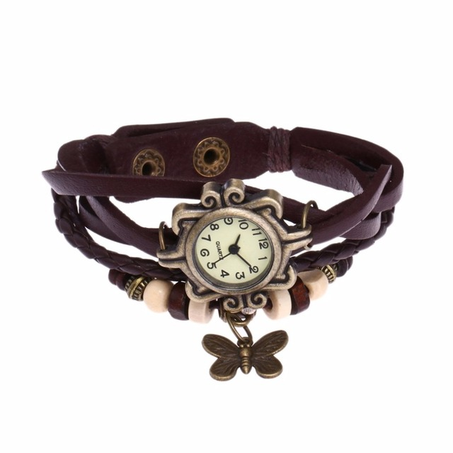 Leather Bracelet Watch Women Charm Leaf Ethnic Geneva Style Bracelets&Bangles Vi