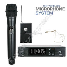UHF Professional D100 Wireless Microphone System 1/2 1U Frequency adjusting for Stage Performance sing speech MiCWL in ear monitor wireless system professional for stage performance sr2050 iem with 10 receiver