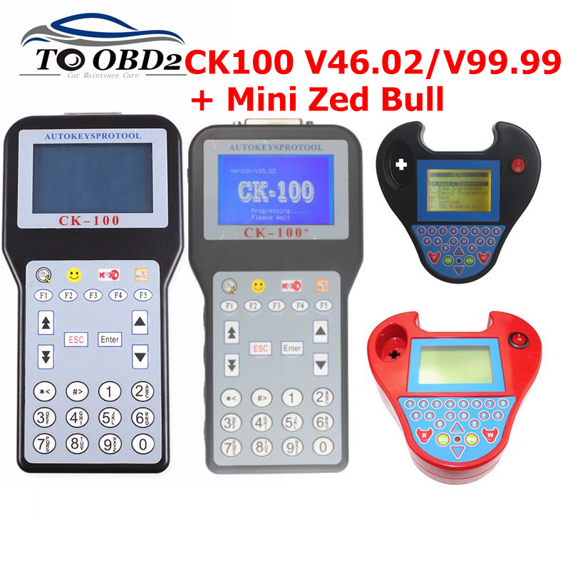 CK100 Auto Key Programmer V99.99/46.02/MINI ZED BULL OBD2 CK-100 Diagnostic Tool Car Fault Reader Auto Code Scanner Free Ship