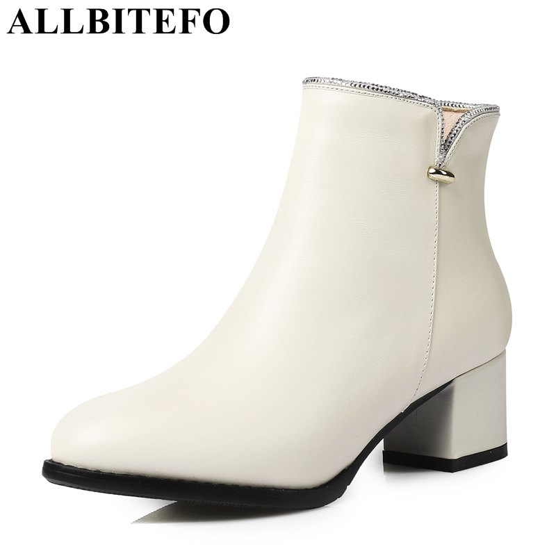 ALLBITEFO plus size:33-43 genuine leather pointed toe medium heel women boots brand thick heel ankle boots woman girls boots цены онлайн