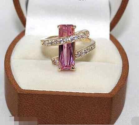 ขายส่งราคา 16new ^^^^ แฟชั่นสีชมพูเครื่องประดับคริสตัลแหวนขนาด: 7-9 #