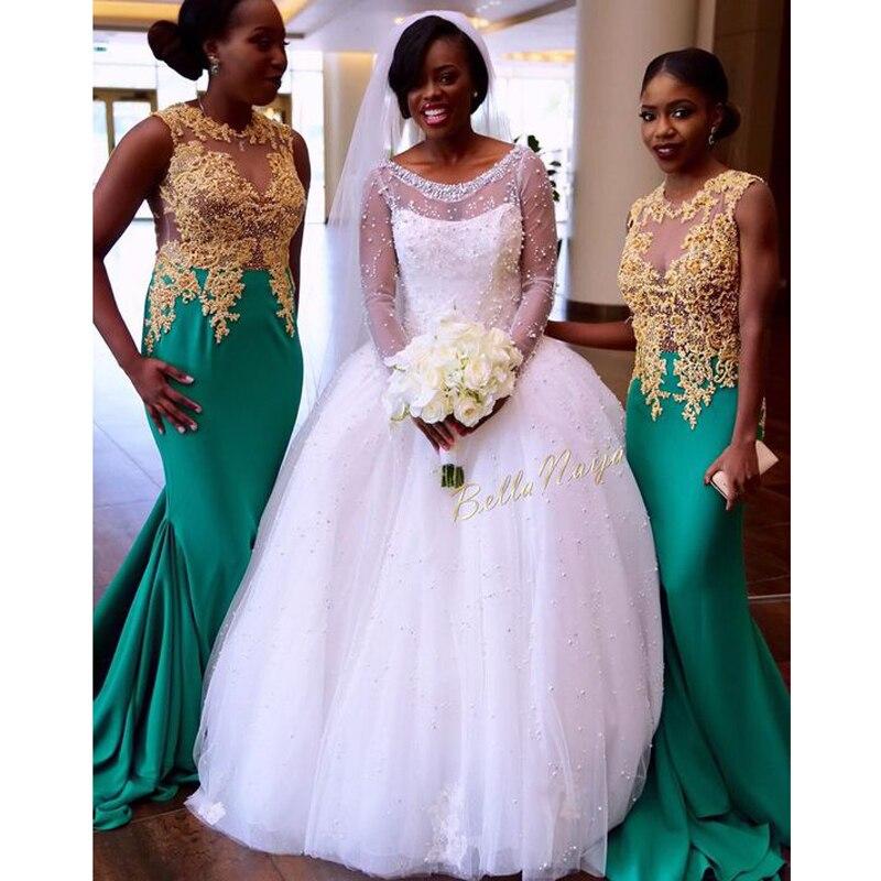 Aqua 2017 mermaid nigerian wedding ceremony dress gold for Wedding party dresses 2017
