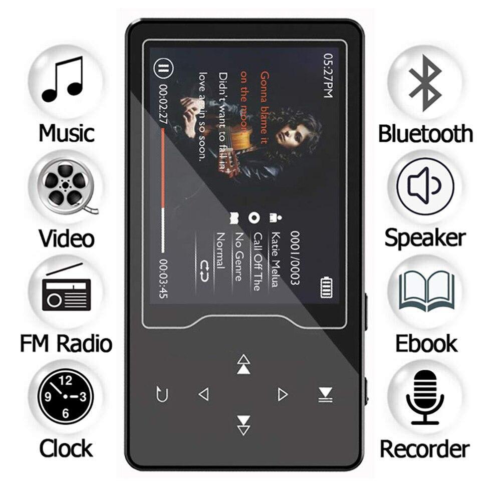 HIFI Bluetooth lecteur MP3 16 GB haut-parleur intégré bouton tactile avec 2.4 pouces HD grand écran sans perte son lecteur de musique MP3 avec FM