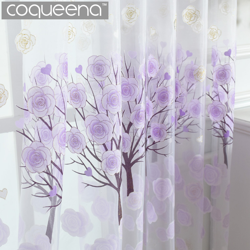 Klar Made Window Tulle Gardiner til Stue Soverom Sheer Panel Voile Gardin for Kitchen Cafe Dør Window Treatment, 1 PCS