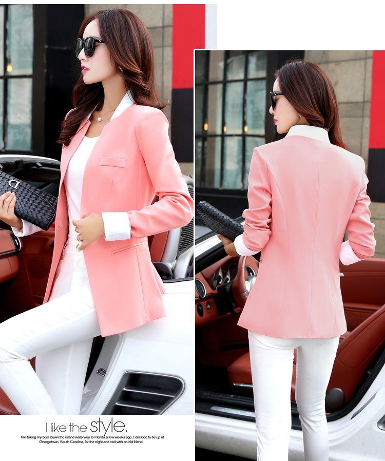 Autumn Spring Chic Office Ladies Stand Collar Blazers Pink Black Jackets For Gentle Women Silm Business Casual Wear Jaqueta Feminina cc