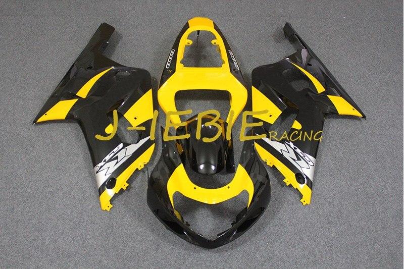 Black yellow Injection Fairing Body Work Frame Kit for SUZUKI GSXR 600/750 GSXR600 GSXR750 2001 2002 2003