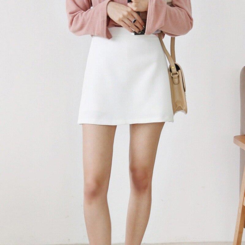Summer Fashion Skirt Shorts Fake Two-piece Split Trousers High Waist Zip Solid Color Skirt Women's Shorts Vadim Harajuku