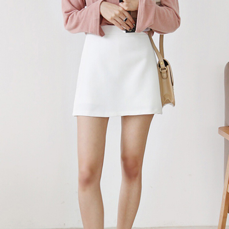 Summer Fashion Skirt Shorts Fake Two-piece Split Trousers High Waist Zip Solid Color Skirt Women's Shorts vadim Harajuku