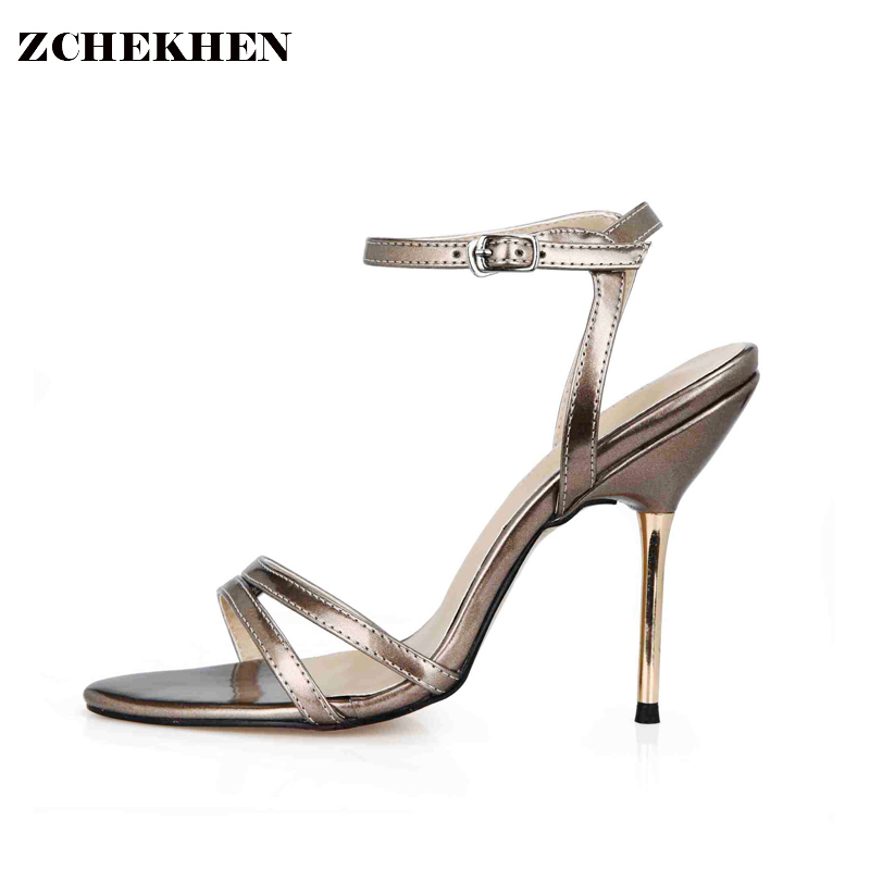 2018 Summer famous designer women sandals Gladiator strap gold metal high heels shoes Sexy Peep toe party wedding shoes 3845C-3a