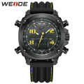 WEIDE Luxury Outdoor Full Black Yellow Army Water Resistant Analog LCD Dual Display Soft Silicone Quartz Men Military Wristwatch
