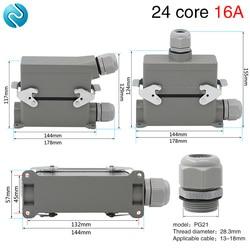 Złącze do dużych obciążeń hdc he 024 prostokątne 24 rdzeń wysokiej bazy lotnictwa wtyczka gniazdo wodoodporne 16A w Złącza od Lampy i oświetlenie na