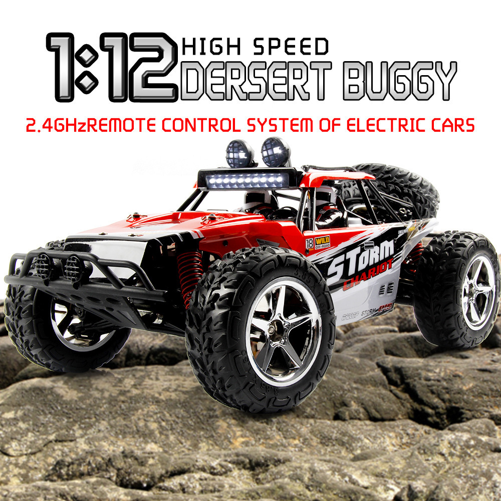 4WD Buggy 1:12 Rubber Tires RC Car 45KM/H High Speed Off-road Engineer Remote Control Vehicle Children Toys