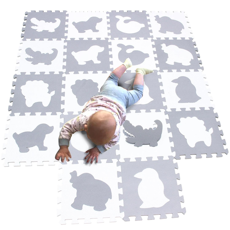 mqiaoham tapis de puzzle en mousse eva pour enfants tapis de jeu de sol en mosaique carreaux 30x30cm 18 pieces