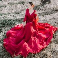 Bán Hot 2018 Phụ Nữ Summer Boho Maxi Dài Ăn Mặc Casual V-Neck 3/4 Sleeve Red Party Dress Thời Trang Chiffon Dresses