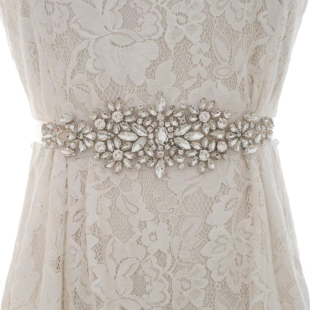 Silver Crystal Flower Wedding Belt Rhinestone Bridal Belt Diamond Wedding Sash For Wedding Long Dresses S183S