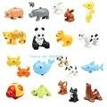 Bloques de Construcción de los animales 10 unids/lote Océano Bosque Granja Animal bebé Modelos de Figuras de acción juguetes