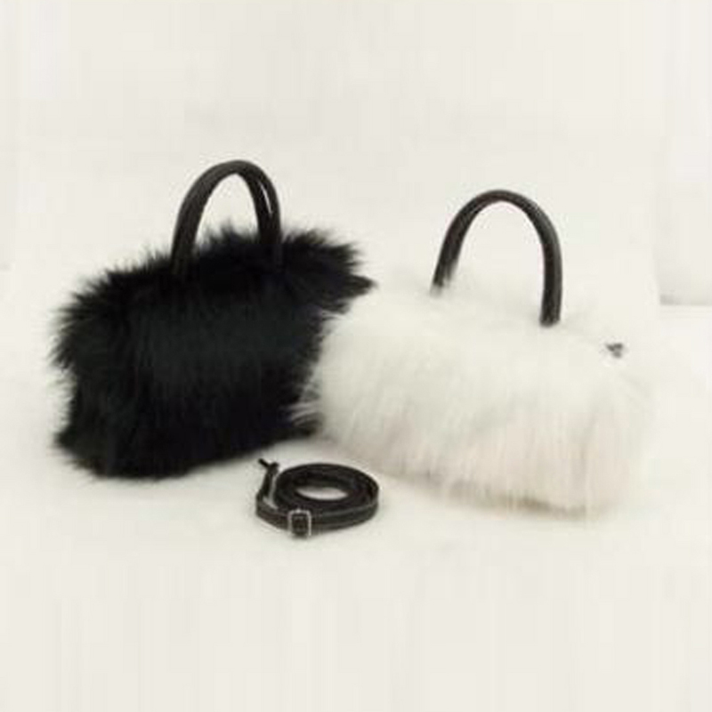 NIBESSER Lady Girl Pretty Cute Faux Rabbit Fur Handbag Women Small Bag Kawaii Shoulder Messenger Bag Tote Fashion Women Handbag