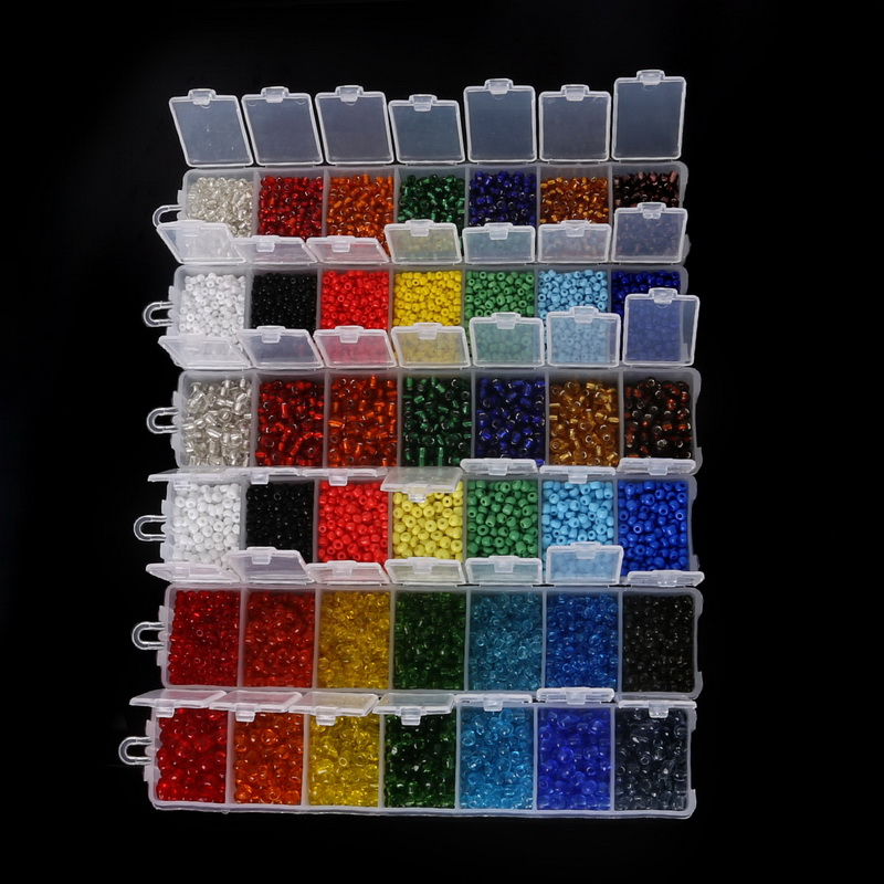 Czech-Seed Spacer Beads Crystal-Glass-Beads-Kit DIY Beadia 3mm 7-Colors 4mm for 2mm 2800pcs title=