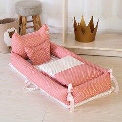 Cuna para recién nacido transpirable y nido de dormir con almohada ropa de cama para bebé colchones portátiles para bebé bonitos