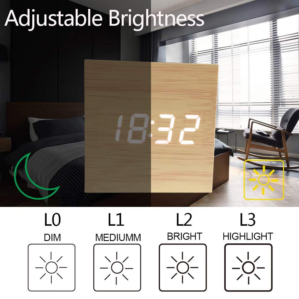 JINSUN-montre intelligente en bois | Horloge de bureau moderne, contrôle du son, alarme numérique, Style carré, visage unique, activé