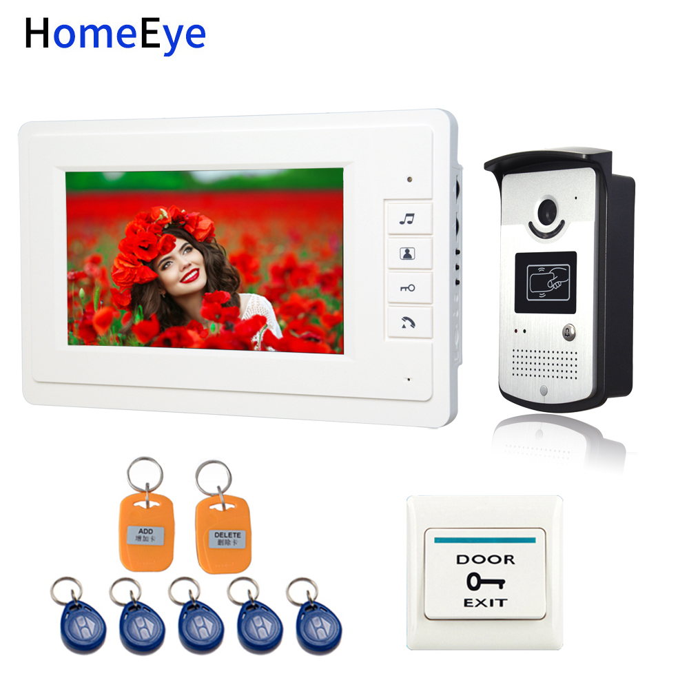 HomeEye Video Door Phone VideoIntercom Home Access Control System 7'' Indoor Monitor+Rainproof Call Camera+RFID Card+Exit Switch