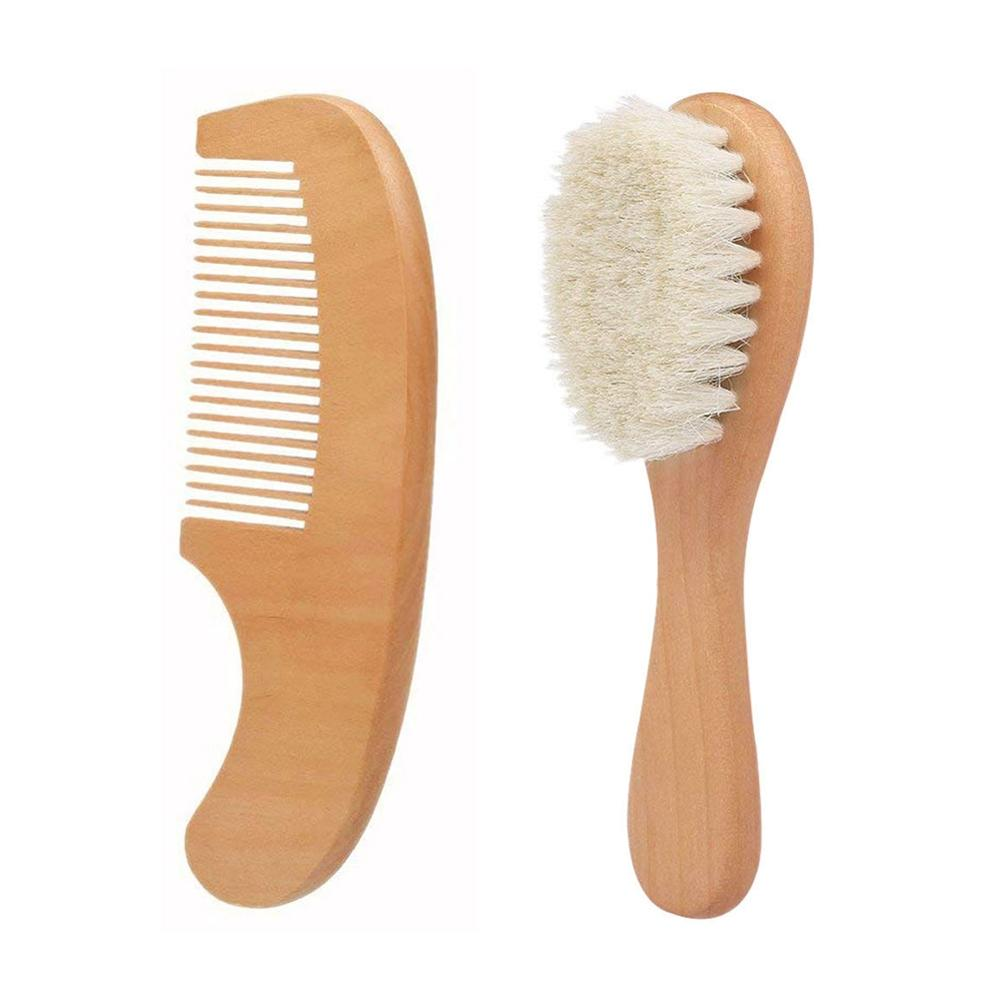 Baby Natural Wooden Comb Wool Hair Brush Newborn Infant Head Massager Natural Safety Material For Baby's Care Health