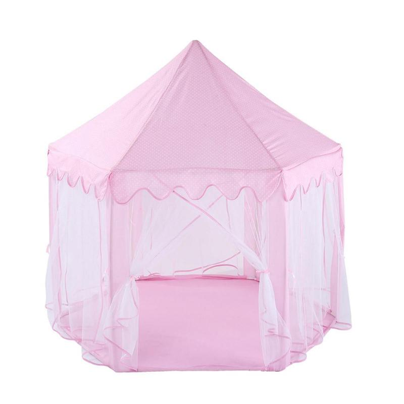 Toy Tent Little Girl Princess Pink Castle Tents Portable Children Indoor Folding Play Toy Tent For Kid Game Castle Playhouse