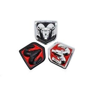 Image 3 - 3D Auto Head Grill Achterklep 3D Stickers Metalen Embleem Inbouwen Metal Chrome Badge Emblem Sticker Ram hoofd Voor Dodge Ram kaliber