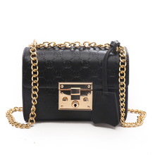European and American style solid color embossed shoulder women bag black Messenger bag small fashion casual commuter bag punk style solid color and rivets design women s shoulder bag