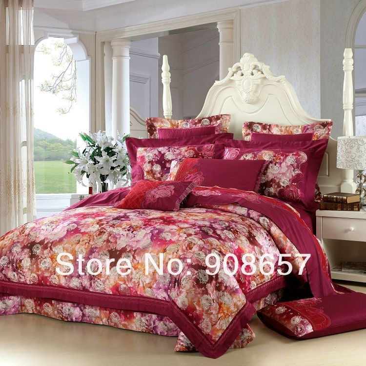 oriental floral violet red luxurious bedding 10 pcs Queen bed in a bag set  Quilted Jacquard Satin Cotton quilt/duvet