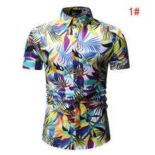 Camisa de manga corta con estampado Floral Hawaiano de cuello alto informal de verano para hombre nueva moda 2019