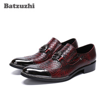 Luxury Italian Style Shoes Men Genuine Leather Dress Shoes Men Slip on Zapatos Hombre Wine Red Party and Wedding Shoes Men