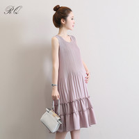 RQ Fashion Maternity Dresses Summer Casual Clothes For Pregnant Women Clothing Slim Pregnancy Dress Wear Q126