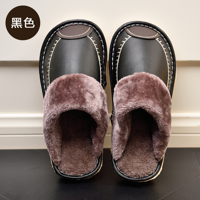 225f4976f9 New Fashion Indoor Home Winter Warm Leather Men s Slippers Black Footwear  Male Casual Shoes Non-slip Men Flat Sandals Closed Toe